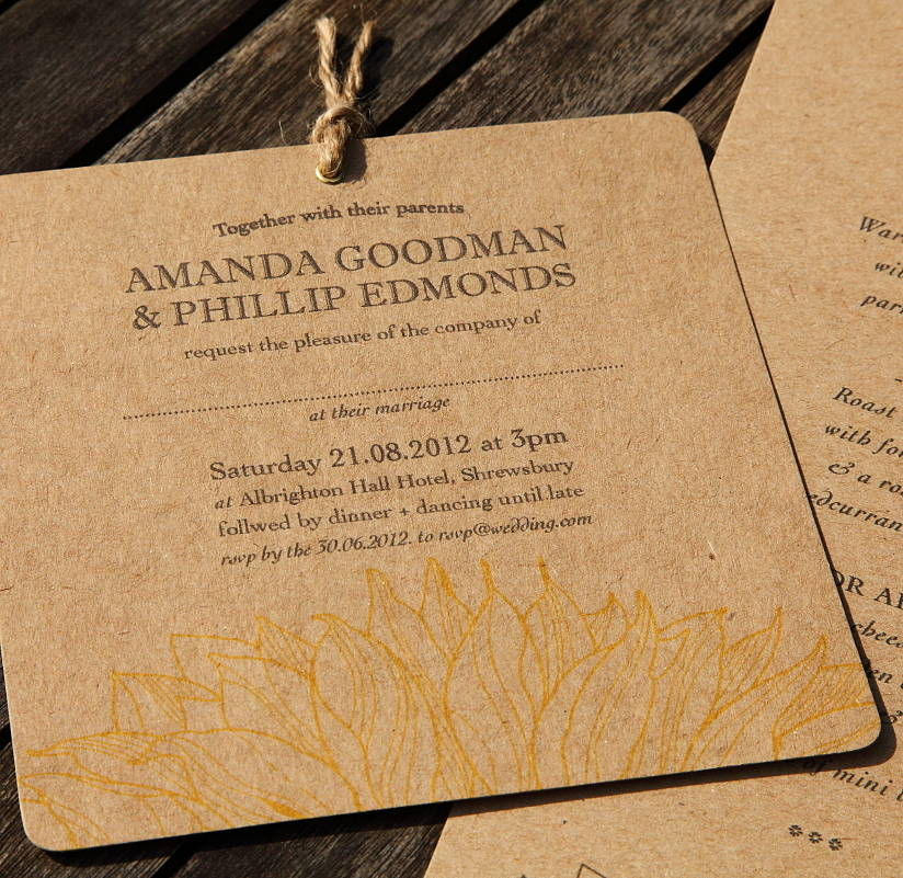 Recycled Wedding Invitations: Recycled Sunflower Wedding Invitations By Artcadia