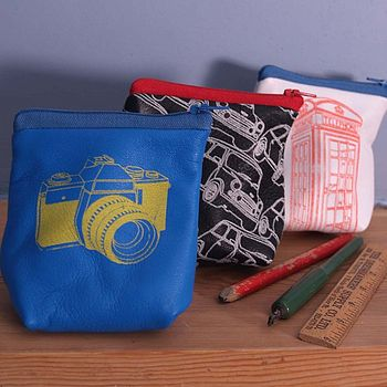 Bright blue SLR camera, Navy minis and White phone box coin purses