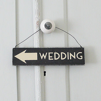 Hanging Wooden Wedding Sign