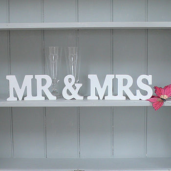 'Mr & Mrs' Stand Up Wooden Letters