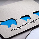 Pig And Baby Personalised Hand Cut Card