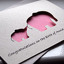 Elephant & Baby Personalised Hand Cut Card