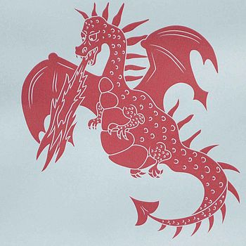 Sample ''ere be dragons' Blue & Red Wallpaper