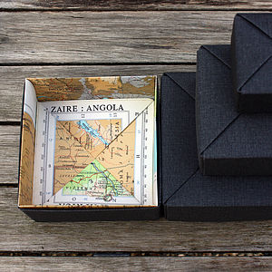 Personalised Origami Map Box - ribbon & wrap