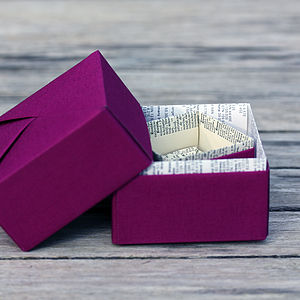 Personalised Book Page Origami Trinket Box - cufflink boxes & coin trays
