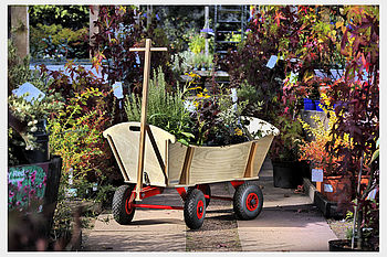 Large Pull Along Wooden Cart