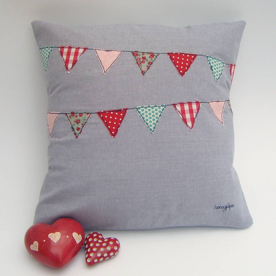 Appliqud Bunting Cushion By Honeypips