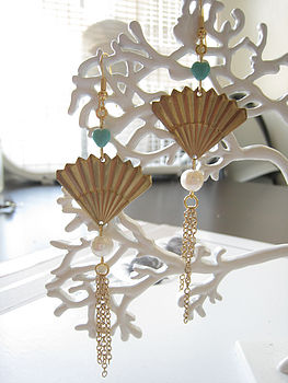 Turqouise Heart Fan Earrings