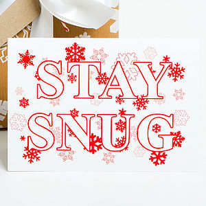 'Stay Snug' Snowflake Recycled Christmas Card
