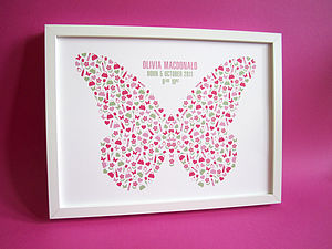 Personalised Girl's Butterfly Print