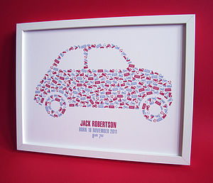 Personalised Boy's Car Print