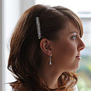 Model wears Crystal Drop Sparkly Wedding Earrings