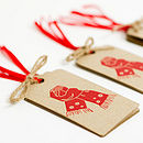 Christmas Gift Tags 'Mitts Off' Brown
