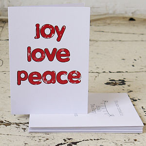 Pack Of Five 'Joy Love Peace' Christmas Cards - christmas card packs