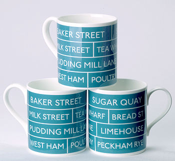 Bus Destination Mug, Teal
