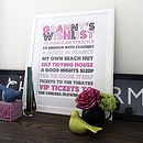 Personalised Grandma's Wish List Print