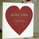 Personalised Wedding/Anniversary Heart Card