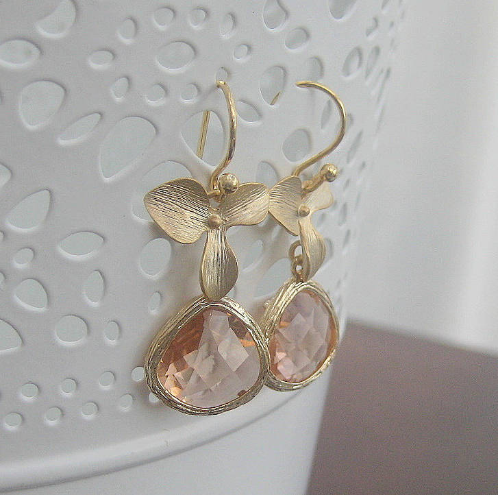 Orchid Flower Faceted Glass Drop Earrings