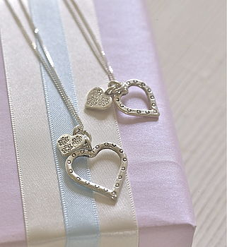 Mummy and Me Silver Hearts Necklace Set