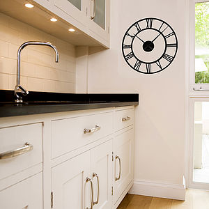 Classic Clock Wall Sticker With Mechanism - dining room