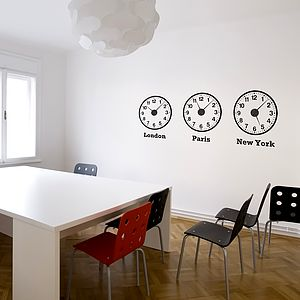 Time Zone Clocks Wall Stickers + Mechanisms - decorative accessories