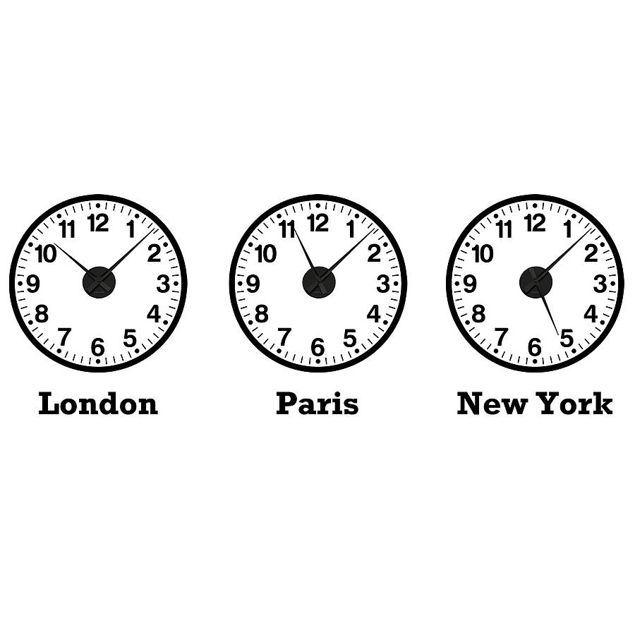 Time Zone Clocks Wall Stickers Mechanisms By Spin Collective
