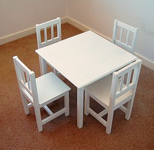 Handmade Children's Table And Four Chairs