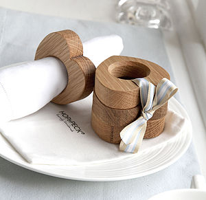 Four Wooden Heart Napkin Rings Solid Oak - kitchen