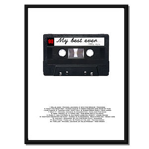Personalised Retro Styled Cassette Print. - gifts for him