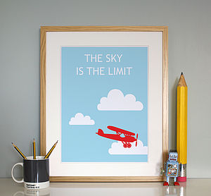 'The Sky Is The Limit' Print - posters & prints for children