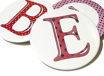 alphabetty letters personalised fridge magnet and pocket mirrors from sacha smith