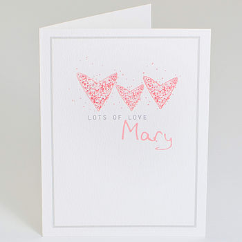 Personalised 'Lots Of Love' Hearts Notelet