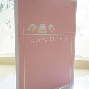 Personalised Bird Cake Birthday Card - personalised