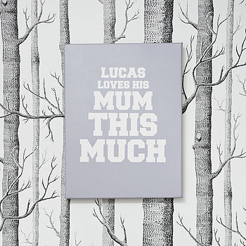 Personalised 'This Much' Art Canvas in Classic Grey