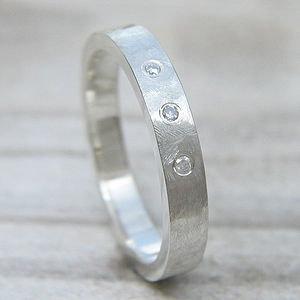 Textured Diamond Ring In Sterling Silver - rings
