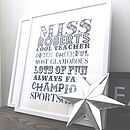 Personalised 'Best Teacher' Print