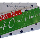 40 and Fabulous! Personalised Chocolate Bar