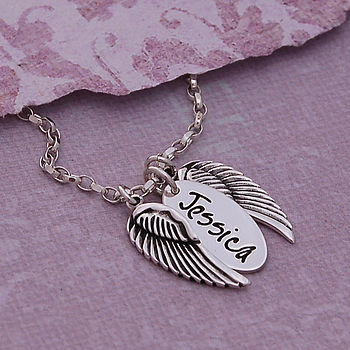 Handmade Personalised Silver Name Necklace with Angel Wings