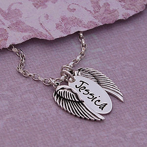 Handmade Personalised Silver Name Necklace with Angel Wings - necklaces & pendants