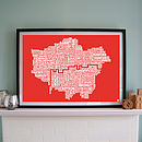 London Screen Print red