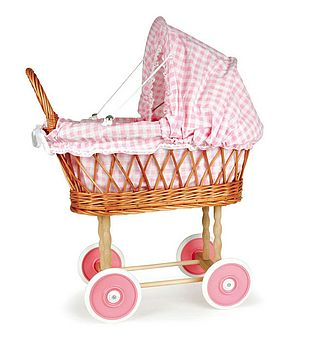 Pink Wicker Doll's Pram