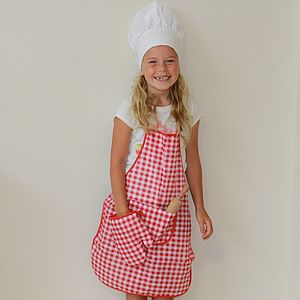 Child's Checked Chef's Apron, Hat And Glove Set