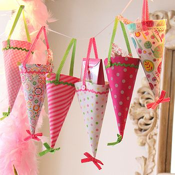 Set Of Six Pink Party Cones