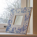 Blue Willow Painted Floral Print Mirror