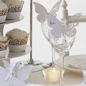 White Butterfly Wedding Place Cards - dining room