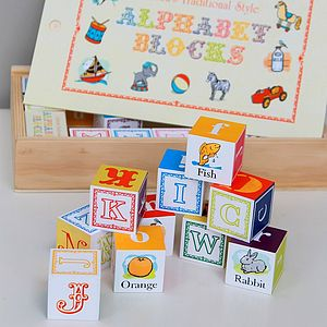 Wooden Alphabet Blocks - traditional toys & games