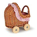 Mini Pink Wicker Pram