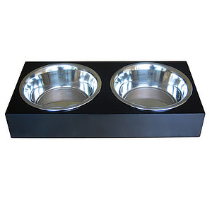 Black Wooden Dog/Cat Feeder With Two Steel Bowls