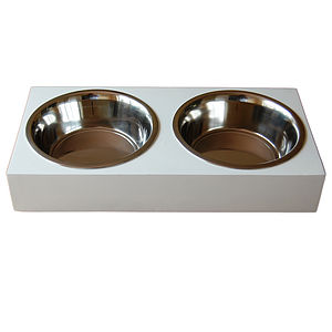 White Wooden Dog/Cat Feeder With Two Steel Bowls - gifts for pets