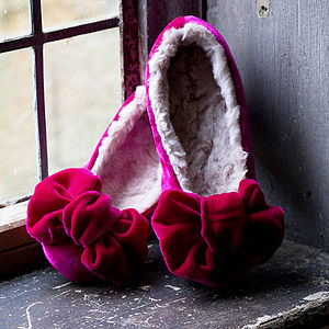 'Pink Bow' Velvet Slippers - women's fashion